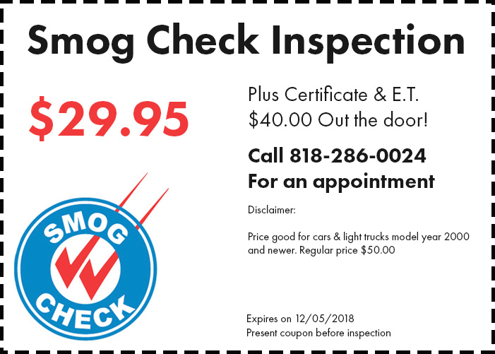Smog check coupon